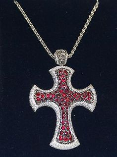 18k White Gold Mouawad Natural Ruby and Diamond Convertible Cross Necklace  D5 Cross Necklaces 77902c0f60ce
