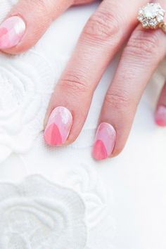Light Pink Chevron Nails