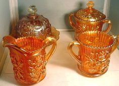 Imperial Marigold Carnival Glass Lustre Rose Creamer Sugar Spooner Butter Dish . Love this charming set ♥