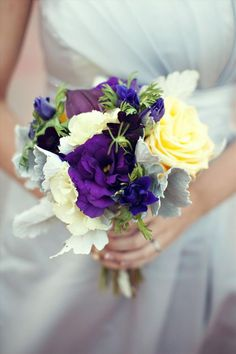 Wedding bouquet- dark purple and ivory floral mix- bridesmaid bouquet -posey bouquet style