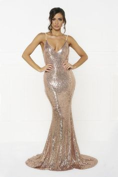 48086de8a5 Honey Couture KRISTY Gold Low Back Bow Sequin Formal Gown Dress Honey  Couture One Honey Boutique