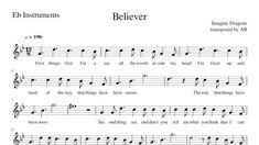 Believer Imagine Dragons Alto Sax Cover Sheet Music Pdf