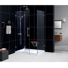 DreamLine QuatraLux 34-5/16 in. x 34-5/16 in. x 72 in. Frameless Hinge Shower Enclosure in Brushed Nickel - SHEN-1334340-04 - The Home Depot