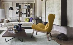 PU foam design armchair with wooden base Lazy - Calligaris CS/3373-W 1310