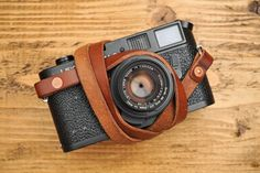 Copper Riveted Thick & Supple Chestnut Leather Camera Strap
