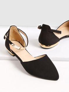Flache Schuhe mit Metall und Riemen-schwarz- German SheIn(Sheinside)