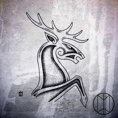 Norse Stag Tattoo Design by NirvanaOfTime