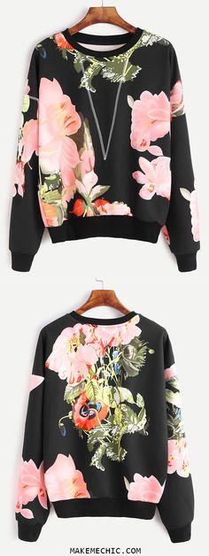 Black Flower Print Topstitch Sweatshirt