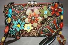 Stunning Beaded Mary Frances Bag Multi colored Stones NWT Dustcover, extra Beads