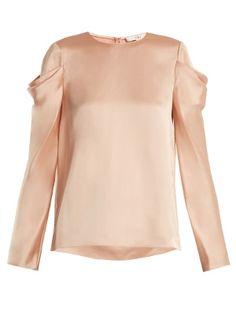Celestia draped-sleeve satin top   | Tibi | MATCHESFASHION.COM US