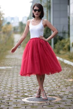 Tulle Skirt Tea length Tutu Skirt Knee length by Sophiaclothing make black and could use for pirate