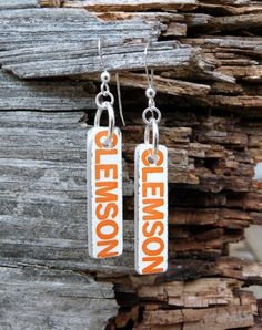 CLEMSON Recycled Coke Bottle Slim Rectangle by becadesigns on Etsy, $40.00