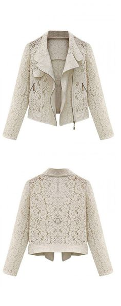 Beige Crocheted Lace Short Jacket