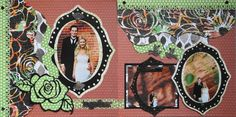 Scrapbook Page - The Bride & Groom 2 page Kiwi Lane layout with a rose from Wedding Album 4