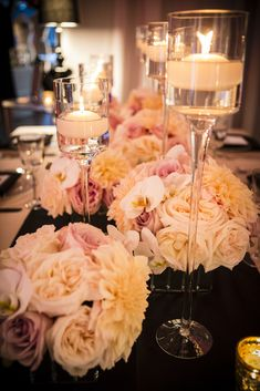 blush wedding flowers; black and cream light pink tablescape; nude and black wedding -  zest floral and event design