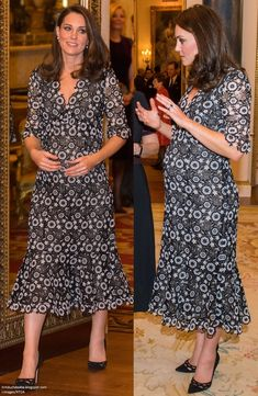 - Kate in bespoke version of Suzi Dress The Duchess of Cambridge and the Countess of Wessex hosted a reception at Buckingham Palace on behalf of the Queen during London Fashion Wee. Celebrity Maternity Style, Celebrity Style, Maternity Dresses, Maternity Fashion, Princesa Real, Princesa Kate Middleton, Prince William And Catherine, Kate Middleton Style, Tweed Dress