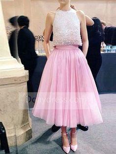 Beautiful Sequin Scoop Sleeveless A-Line Tea Length Pink Homecoming Dress Itemhpi0065