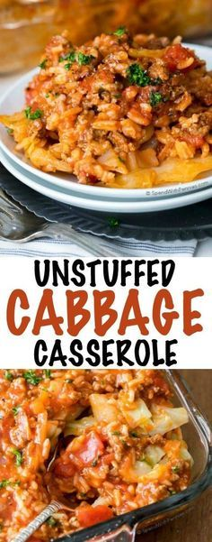Unstuffed cabbage casserole is the perfect way to enjoy lazy cabbage rolls! Grou… Unstuffed cabbage casserole is the perfect way to enjoy lazy cabbage rolls! Ground beef, pork & rice with a cabbage layer in a rich tomato sauce. Beef Dishes, Food Dishes, Main Dishes, Lazy Cabbage Rolls, Cabbage Rolls Recipe, Recipes With Pork And Cabbage, Stuff Cabbage Rolls, Vegetarian Cabbage Recipes, Healthy Cabbage Recipes