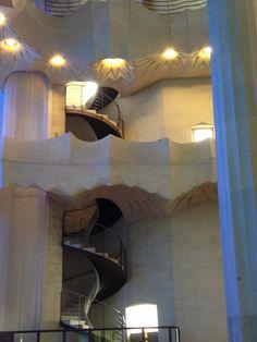 Stairway in Gaudi's Sagrada Familia, Barcelona, Spain