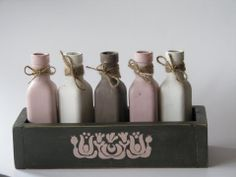 painted bottles and mini crate