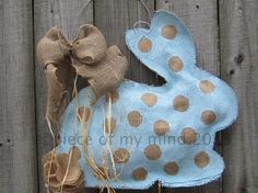 Burlap Door Hanger  Bunny with Tail in Blue