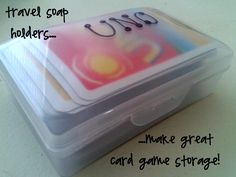 the ol' card game in a travel soap container organization trick (board game tips from CampClem blog)