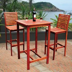3 Piece Dartmoor Indoor Outdoor Bar Pub Dining Patio Garden Furniture Set Wood this wood be nice on the deck Outdoor Bar Sets, Outdoor Dining Set, Indoor Outdoor, Outdoor Living, Outdoor Furniture Sets, Outdoor Decor, Dining Furniture, Balcony Furniture, Garden Furniture
