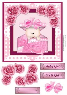Pink Surprise Card Front  on Craftsuprint designed by Sharon Vieira - Pink Surprise Card Front is approx 7x7 in. it comes with floral and bow decoupage and 3 labels reading I'ts a Girl, Baby girl and one is blank for the sentiment of your choice.  - Now available for download!
