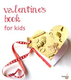 I love this handmade, found-object Valentine's Day book -- what a fun, easy DIY project for kids