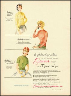 1955-- ad for Exmoor Sweaters Made with Tycora Yarn. ~~
