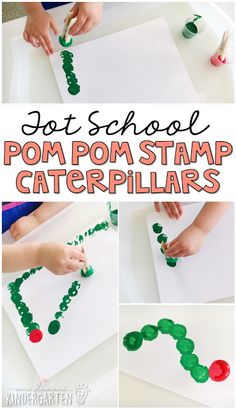 Love how these little pom pom stamp caterpillars turned out! Perfect for a butterfly theme in tot school, preschool, or the kindergarten classroom.