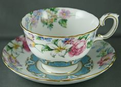 Crown Staffordshire Tea Cup Teal Blue Floral Gold Gilding Lillies Bluebells