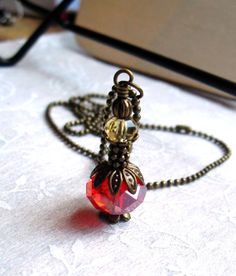 Perfume Jar Bottle, Czech Glass, Red, Gold, Antique Brass with Ball Chain Necklace -Made From Beads on Etsy, $13.50