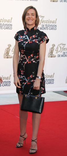 French Actress Bénédicte Delmas in Black Cheongsam Qipao at Monte Carlo TV Festival Cheongsam, Monte Carlo, Lady, Peplum Dress, Chinese, Satin, Celebs, Actresses, Womens Fashion