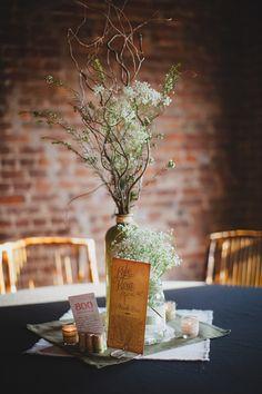 Baby's breath and manzanita table centerpiece #rustic #brides