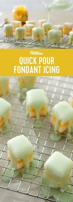 Quick-Pour Fondant Icing is a great choice for covering cakes, cupcakes, cookies or petits fours with a dazzling silky finish. Place lightly iced cakes, cupcakes (narrow end up) or petits fours on cooling grid above a drip pan before pouring.