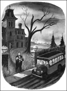"During his lifetime, cartoonist Charles ""Chas"" Addams – drew many macabre cartoons that made his audience (perhaps somewhat uncomfortably) laugh. Addams is primarily remembered today as the creator New Yorker Covers, The New Yorker, Frankenstein, Addams Family Cartoon, Cartoon Familie, Gomez And Morticia, Morticia Adams, Charles Addams, Edward Gorey"