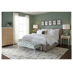 Master bedroom- like the bed and wall color.  CELINA FLOATING RAIL BED <BR>