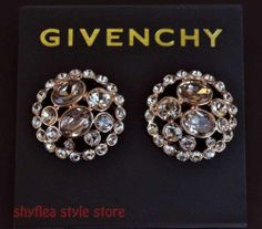 Givenchy Earrings Rose Gold Tone Round Button Silk Glass Crystals Elegant New