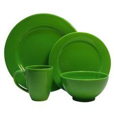 Waechtersbach Fun Factory Green Apple 16-piece Place Setting   Overstock.com Shopping - The Best Deals on Casual Dinnerware