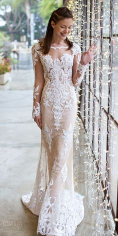 NOYA BRIDAL 2016 illusion long sleeve scalloped sweetheart illusion jewel sheath wedding dress