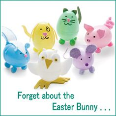EASTER CRAFT: Deco Plastic Easter Eggs with Felt or Foam and Sharpies. (Skunk, dog, cat, pig, owl and mouse.)
