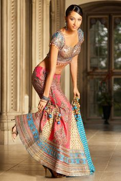 pink and blue lehenga #indianwedding #shaadibazaar