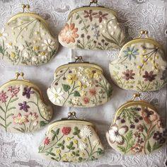 集合&整列❗️ #がま口 #刺繍 #刺しゅう #刺しゅうがま口 #刺繍がま口 #花刺しゅう #デザインフェスタ #デザフェス #atelierdenora #nora #手仕事 #針仕事 #ハンドメイド Embroidery Purse, Tambour Embroidery, Embroidery Needles, Ribbon Embroidery, Floral Embroidery, Cross Stitch Embroidery, Embroidery Patterns, Sewing Cabinet, Fibre And Fabric
