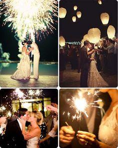 Fuegos artificiales para finalizar una boda de ensueño
