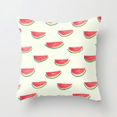 Watercolor pillow, home decor, watermelon print, fruit illustration, from hand painted pattern, cute throw pillow cover, boho home decor