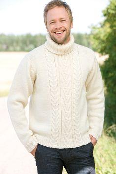 Neulottu miehen palmikkoneule Novita Isoveli   Novita knits