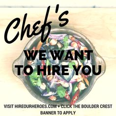 CHEFS WANTED! Boulder Crest Retreat Arizona is #hiring #veterans for a Culinary & Horticultural Specialist position! To apply, visit our Veteran Job Board at HireOurHeroes-com and click on the Boulder Crest Banner #jobs #chefs #culinary #careers #culinarycareers #nonprofits #nonprofitjobs #hireveterans #hiringveterans #chefjobs #chefswanted