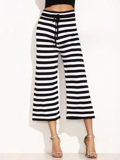 Contrast Striped Wide Leg Drawstring Pants