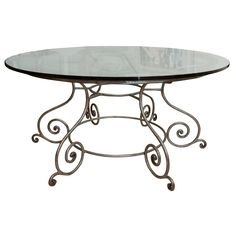 round glass top dining table with attractive wrought iron base at glass top dining table bases Round Glass Top Dining Table with Attractive. Round Glass Table Top, Glass Top Dining Table, Modern Dining Room Tables, Glass Top Coffee Table, Glass Table Top Replacement, Muebles Living, Iron Table, Metal Furniture, Vintage Table